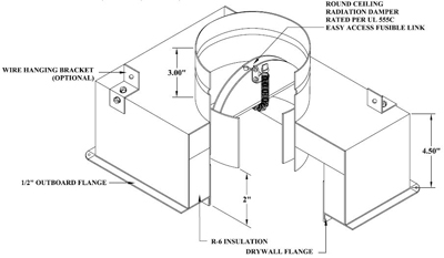 #1575-CRD 10X06X06 CEILING RADIATION DAMPER BOX R6 12/CTN