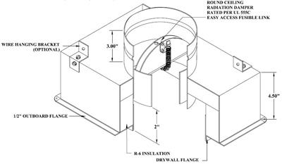 #1575-CRD 08X04X04 CEILING RADIATION DAMPER BOX R6 16/CTN