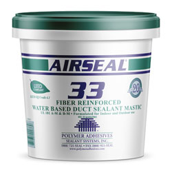 AIRSEAL 33 AS33-1 FIBER REINFORCED WATER BASED DUCT SEALANT 1 GALLON WHITE UL 181 A-M & B-M 4/CS