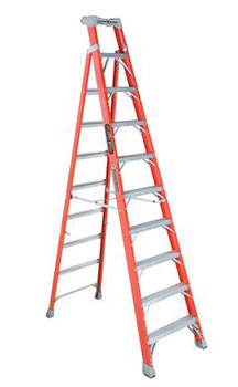 CROSS-STEP 10' FIBERGLASS LADDER FXS1510 TYPE IA 300lb RATED