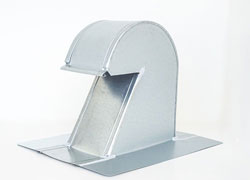 Tall Flat Tile Roof Vent 4 Inch Galvanized with Screen GRV-4T