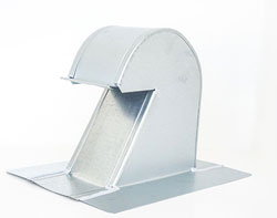 Tall Flat Tile Roof Vent 4 Inch Galvanized with Damper GRV-4TD