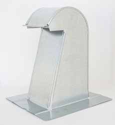 Barrel Tile Roof Vent 6 Inch Galvanized Extra Tall with Damper and Screen GRV-6XTDS