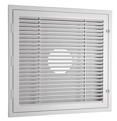 HT-2X2-RTN 24X24 LAY-IN T-BAR PLASTIC LOUVERED RETURN FILTER GRILLE WHITE BULLSEYE BACK INLET BOOT OPTIONS 6