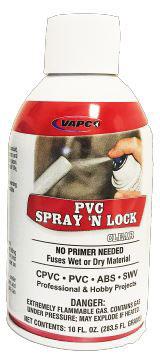 Vapco PVC-SNLC PVC Spray 'N Lock Clear 10 oz. Can