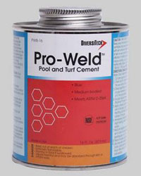 PRO-WELD POOL & TURF - BLUE PVC CEMENT 16 OZ BRUSH-TOP PWB-16 12/CS