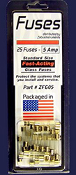 FUSES 5AMP ATO/C (GLASS TYPE) 25PER PACK ZFG05