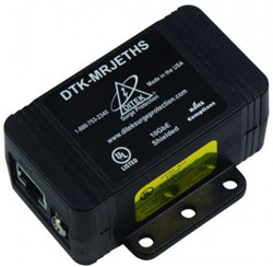 DTK-MRJETHS (DITEK) 5 VOLTS OR LESS, MAX CONTINUOUS CURRENT 1.5 AMPS, SURGE PROTECTION 20KA/PAIR, CONNECTION SHIELDED RJ45 (CAT5e)