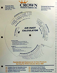 CROWN DUCTULATOR #1965-14 ADI DUCT SIZE CALCULATOR