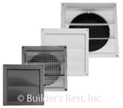 """LOUVERED PLASTIC VENT HOOD 06"""" WITHOUT TAILPIPE WITH SNAP-ON RING WHITE 12/CS 110838"""