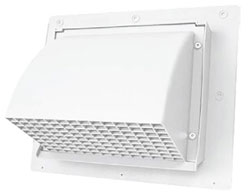 "HEAVY DUTY PLASTIC WALL CAP 04"" WITH DAMPER & SCREEN UV RESISTANT WHITE 25/CASE WC401S"