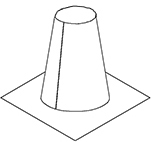 "#336-T 04"" ROOF FLASHING 12"" TALL CONE"