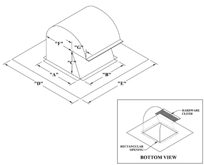 """#350-R 12"""" ROOF CAP W/SCREEN 12X12 SQUARE OPENING, 15"""" THROAT 9""""X12"""" OUTLET 24GA"""