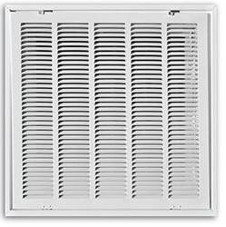 "Truaire 24"" x 24"" Stamped T-Bar Lay-In Return Air Filter Grille with R6 Back"