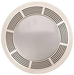 Broan 750 Fan/Light/Night-Light, Round White Plastic Grille With Glass Lens, 100 CFM