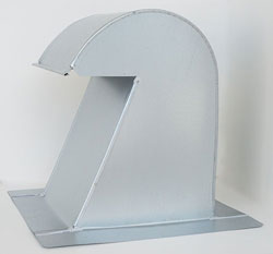 Barrel Tile Roof Vent 10 Inch Galvanized Extra Tall with Damper GRV-10XTD