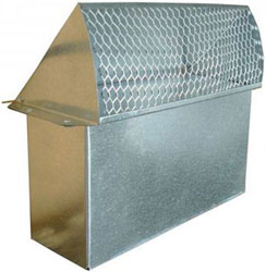 "WALL VENT 3-1/4""X10"" GALVANIZED WITH SCREEN & DAMPER 006-181 24/CS GWV"