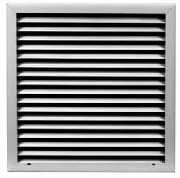 "OL2_FL 2"" 12X12 OUTSIDE LOUVER FLANGED J-BLADE INSECT SCREEN ANODIZED FINISH"