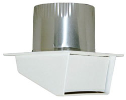 "DRYER EAVE VENT 04"" WITH BACK DRAFT DAMPER & 3"" TAIL, PLASTIC WHITE 12/CS 111804"