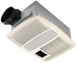 Broan QTX110HL Very Quiet Heater/Fan/Light, 1500W Heater, 2-60W Incandescent Light, 7W Nightlight (bulbs not included)