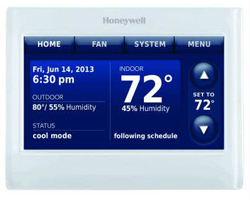 Honeywell THX9421R5021WW 2-Wire IAQ high definition color touchscreen white front/white side thermostat with RedLINK technology