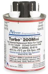 Amrad TurboMINI Universal Motor Run Capacitor, 2.5 to 15 MFD, 370/440V, Round