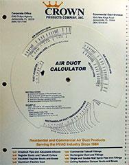 CROWN DUCTULATOR #1965-14 ADI DUCT SIZE CALCULATOR